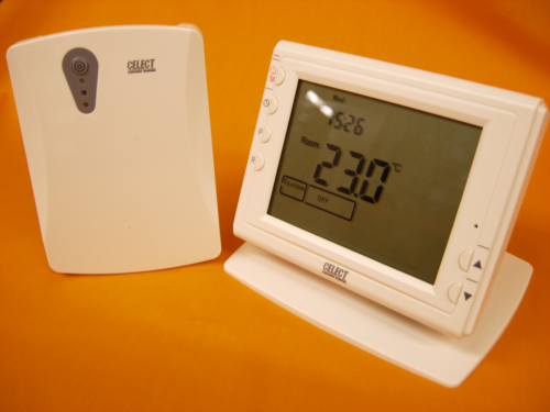 Celect Wireless RF 868MHz Large Screen VF Room Thermostat With Stand