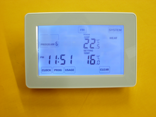 TOUCH SCREEN PROGRAMMABLE ROOM THERMOSTAT (SILVER)